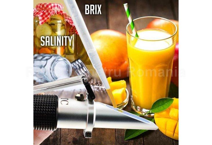 Salinity & Brix Refractometer, Salinity 0~28%, Brix 0~32%
