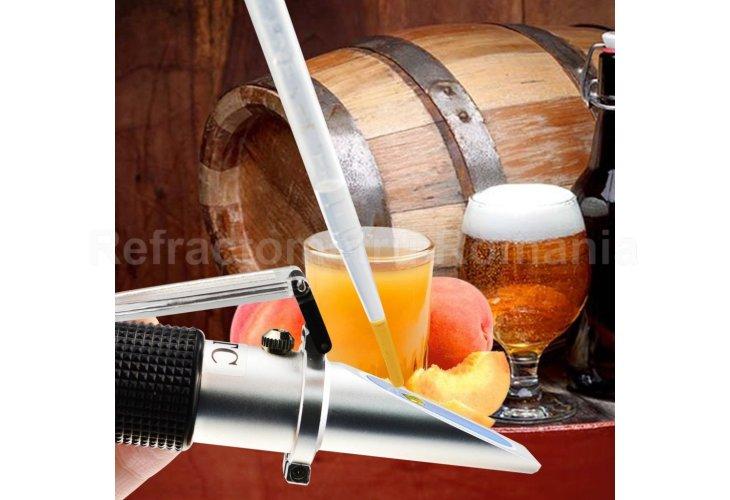 Beer Brix & Specific Gravity Refractometer with ATC Optic Dual Scale 0~32% Brix 1.000-1.120 SG Wine Wort Making Beer Brewing Fruit Juice Hops Sugar Homebrew Kit